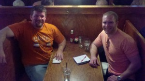 Arin Sime and Matt Makai having dinner at the Virginian in Charlottesville as he starts his Coding Across America journey